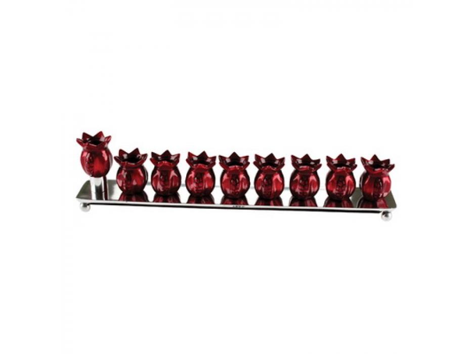 Red Pomegranates Hanukkah Menorah