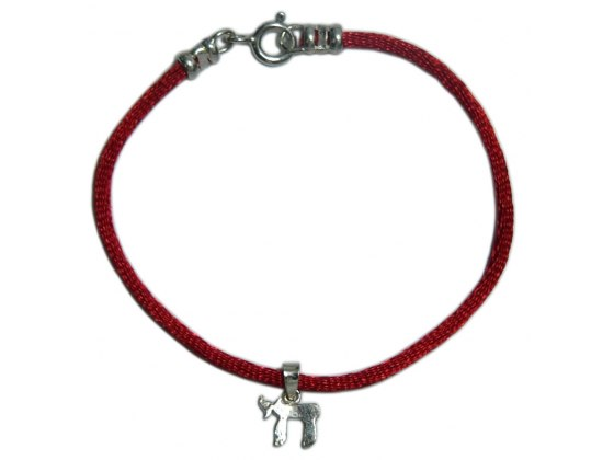 Red String Bracelet with Silver Chai Pendant