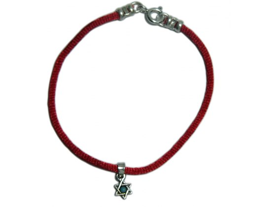 Red String Bracelet with Star of David and Blue Stone