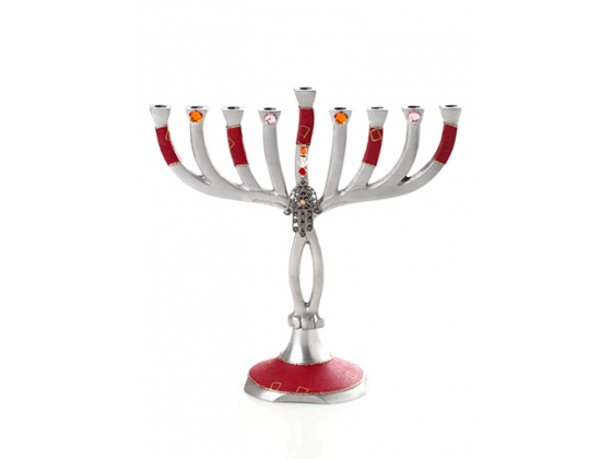 Red Twist Hanukkah Menorah with Hamsa Charm