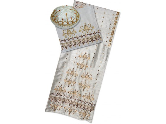 Rikmat Elimelech White Silk Tallit with Flowers and Gold and Brown Scrollwork