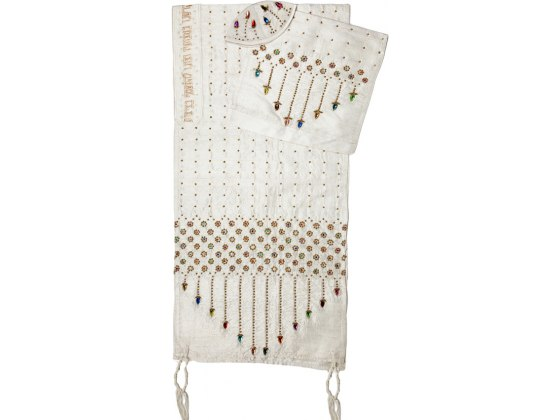 Rikmat Elimelech White Silk Tallit with Rhinestones and Flowers