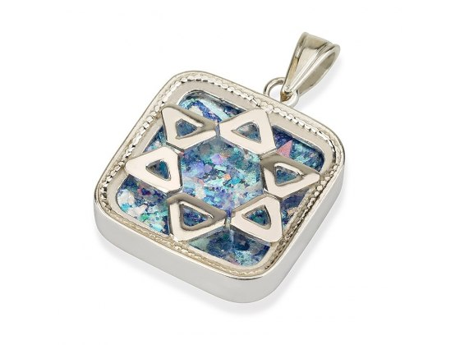 Roman Glass and Silver Star of David Square Pendant