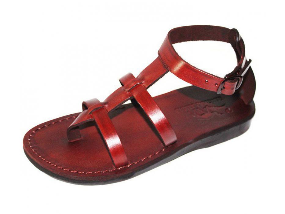 Roman Style Adjustable Strap Leather Sandals - Amiram