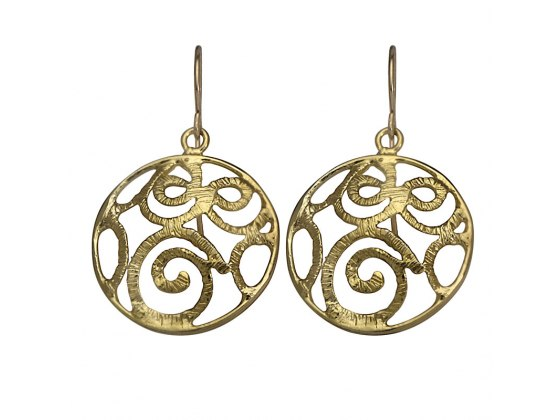 Round Gold Ornament Earrings, Jewish Jewelry