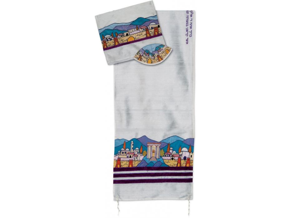 Royal Purple Striped Temple Tallit by Rikmat Elimelech