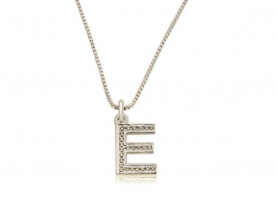 Sterling Silver And Zirconia English Initial Name Necklace