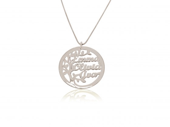 Sterling Silver Tree Of Life English Names Necklace