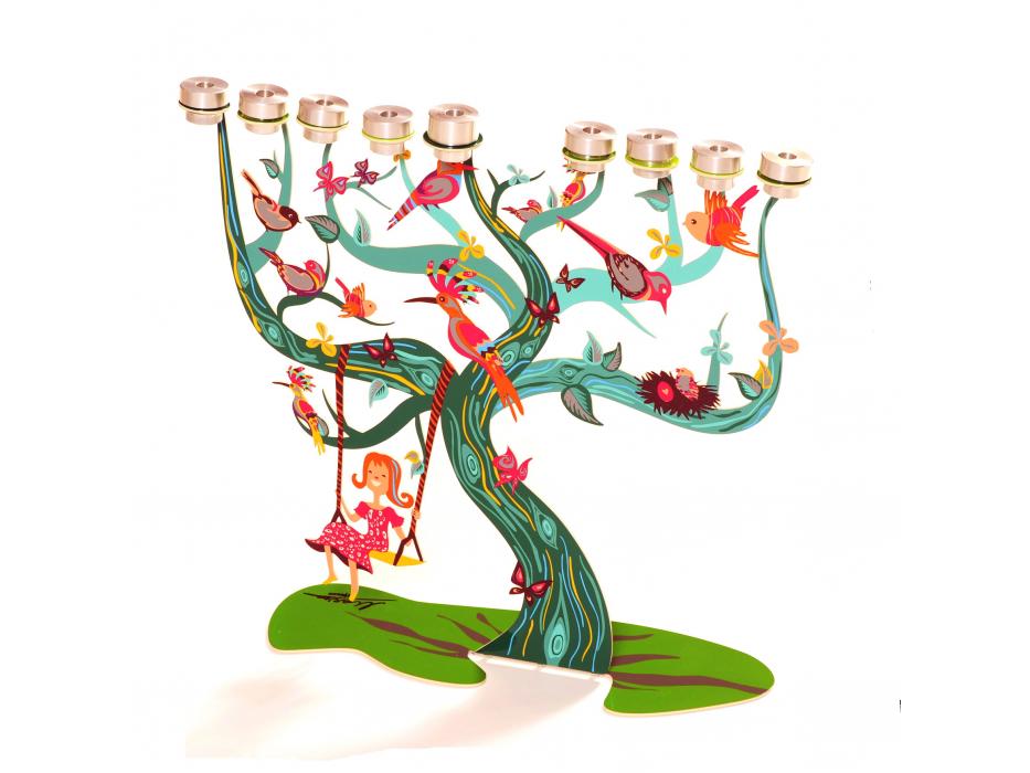 Screen Printed Birds Tree, Hanukkah Menorah