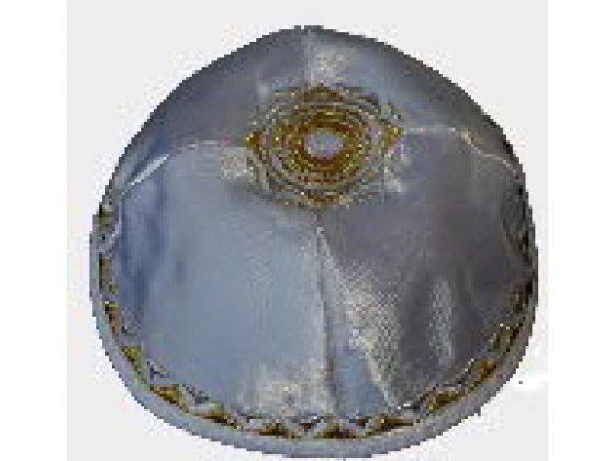 Set of 20 White Atlas Kippah  with Gold embroidery