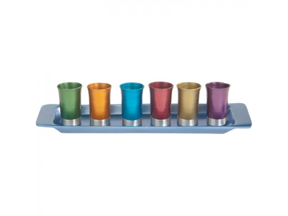 Set of 6 Colorful Aluminum Yair Emanuel Kiddush Cups