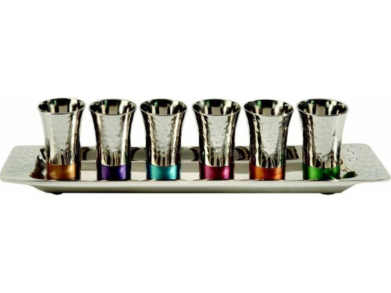 Set of 6 Kiddush Cups and Tray Hammered Silver Plated Multicolored Bases