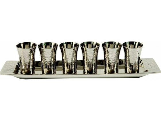 Set of 6 Kiddush Cups and Tray Nickel Hammer Work Silver Plated