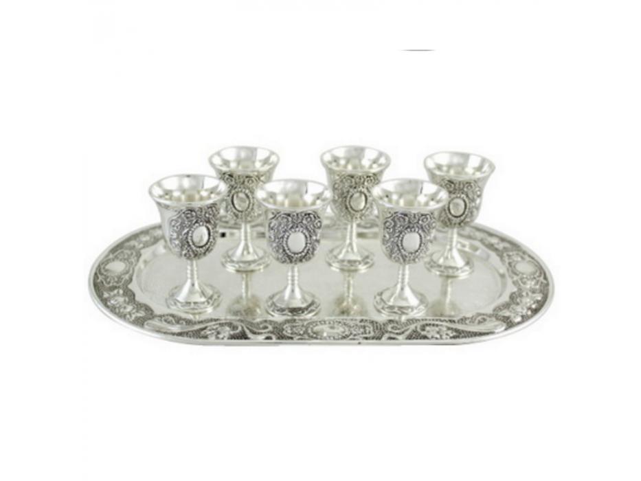 Set of 6 Ornamental Liquor Cups Mini Kiddush Cups with Tray