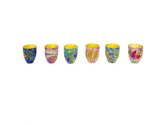 Set of 6 Small Yair Emanuel Kiddush Cups with 7 Species
