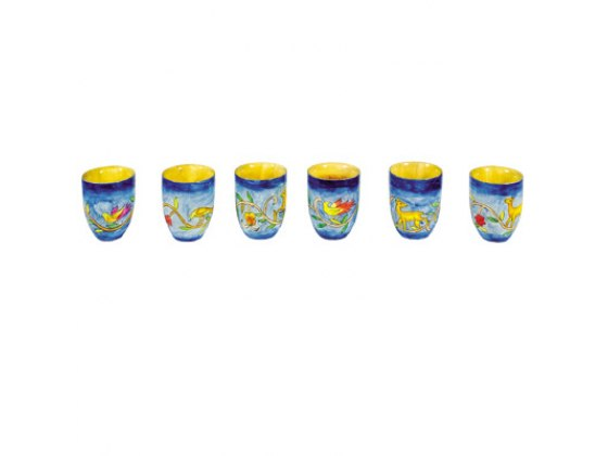 Set of 6 Small Yair Emanuel Kiddush Cups with Animals