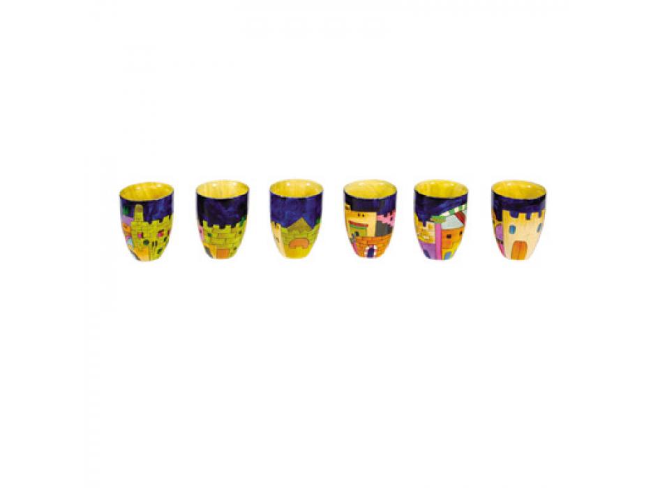 Set of 6 Small Yair Emanuel Kiddush Cups with Jerusalem