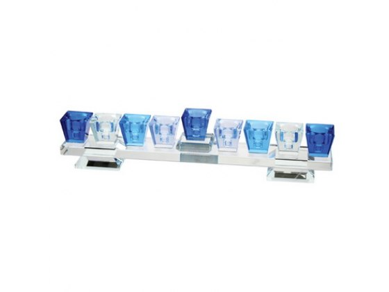Shades of Blue Crystal Hanukkah Menorah