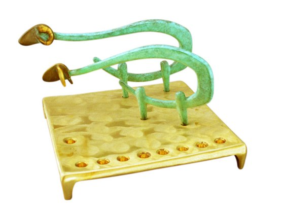 Cast Sheep Hanukkah Menorah by Shraga Landesman