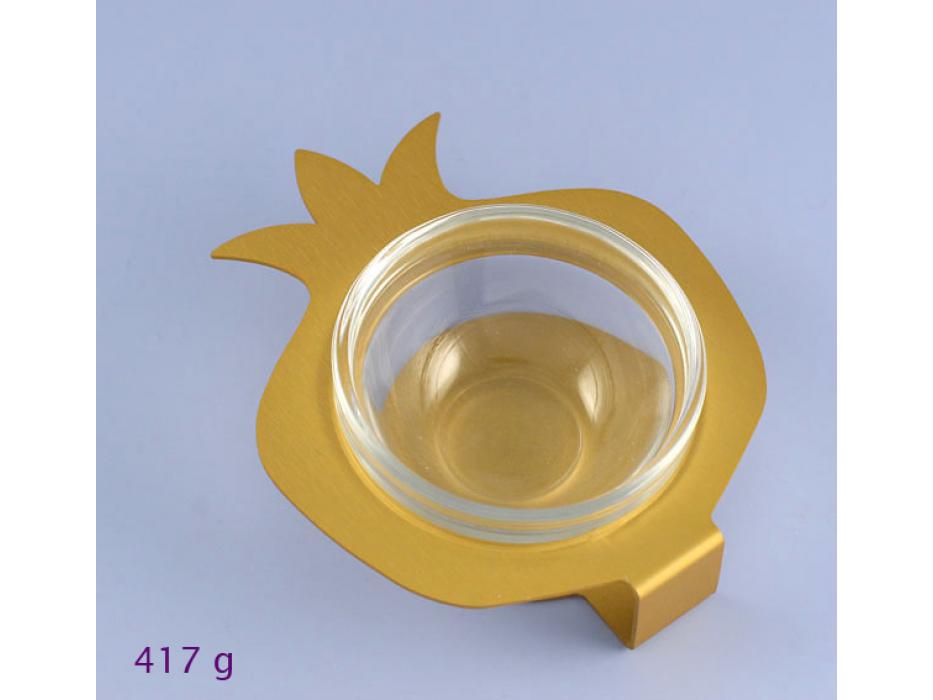 Shraga Landesman Aluminum and glass Pomegranate Honey Dish - Gold