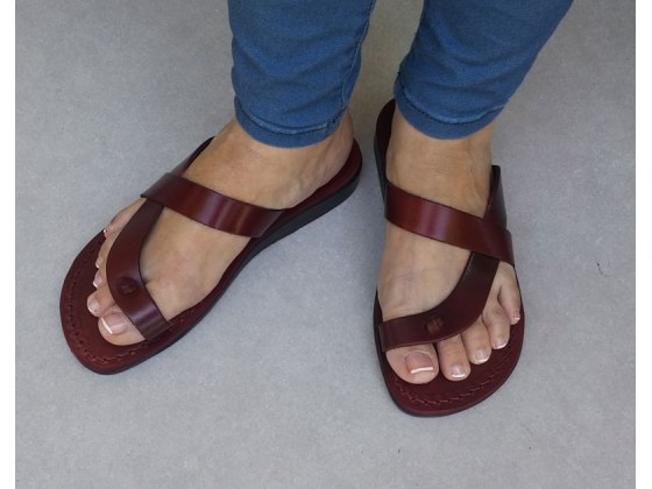 Side Cross L-Toe-Separator Slip-on Handmade Leather Biblical Sandals - Reuben