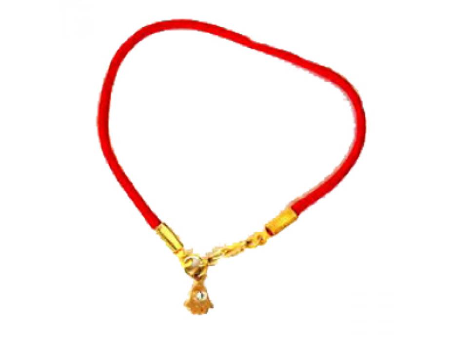 Silk Red String Kabbalah Bracelet, Gold Hamsa Pendant