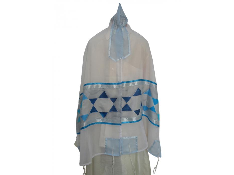 Silk Tallit with Blue Stars of David Pattern