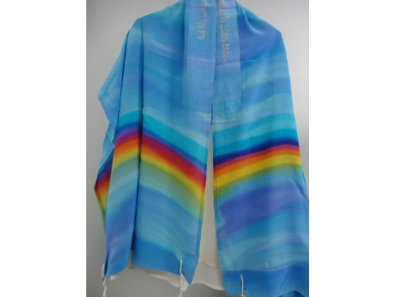 Silk Tallit with Hand Painted Rainbow Colors