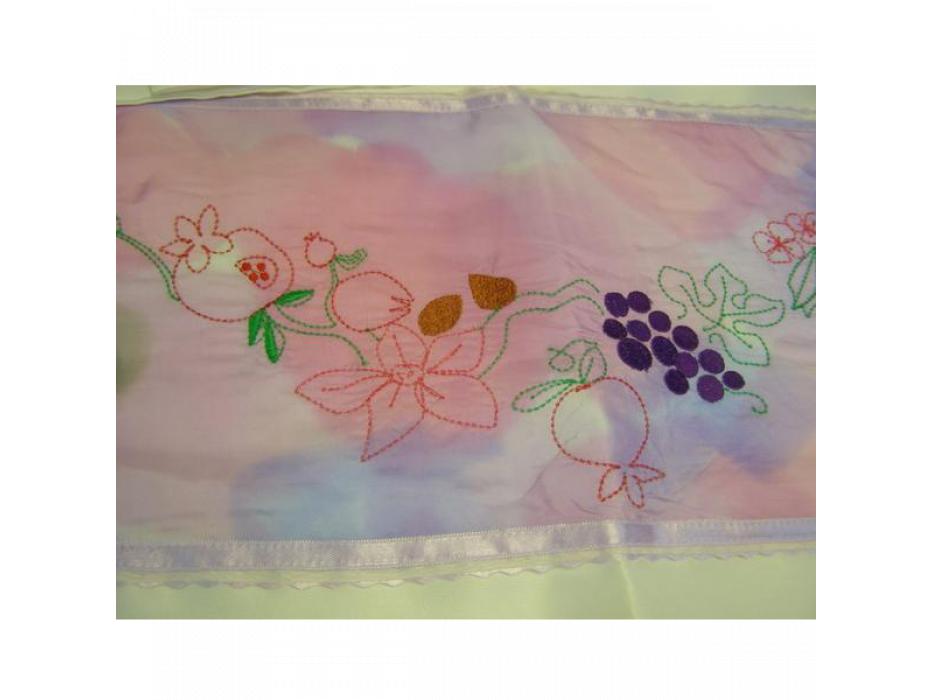 Silk Tallit with Handpainted Land of Milk and Honey Design