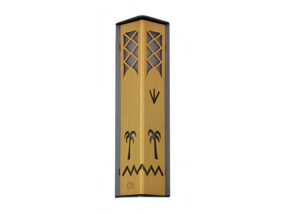 Silver and Gold Colored Palm Tree Cutout Shraga Landesman Mezuzah Case