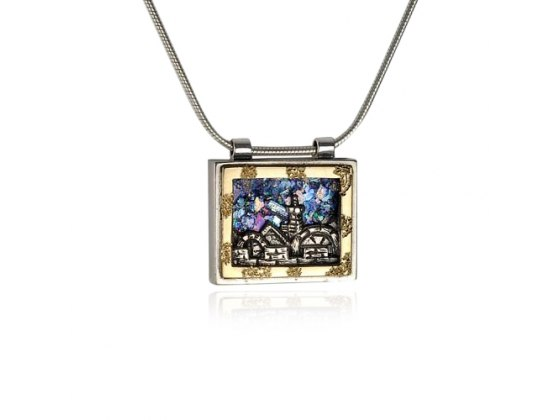 Silver and Gold Framed Picture of Jerusalem Roman Glass Necklace