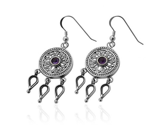 Silver and Gold Intricate Earrings with Purple Stones