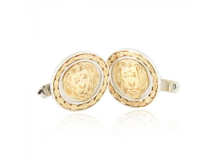 Silver and Gold Lion Round Cufflinks