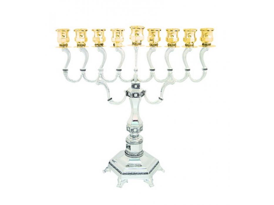 Silver and Gold plated Diamond Design Hanukkah Menorah