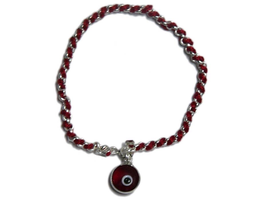 Silver and Red String Evil Eye Bracelet