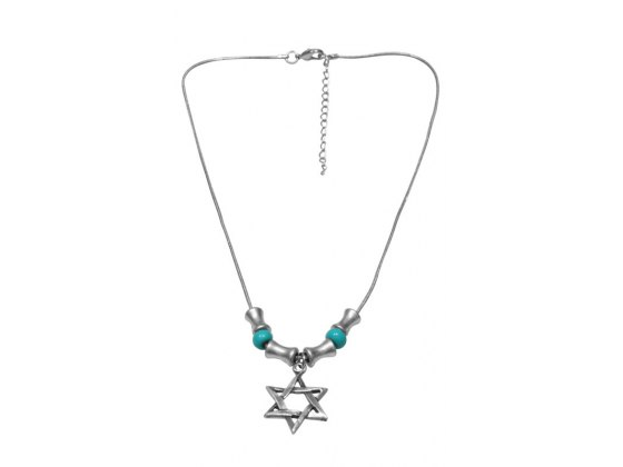 Silver and Turquoise Beads, Star of David Necklace