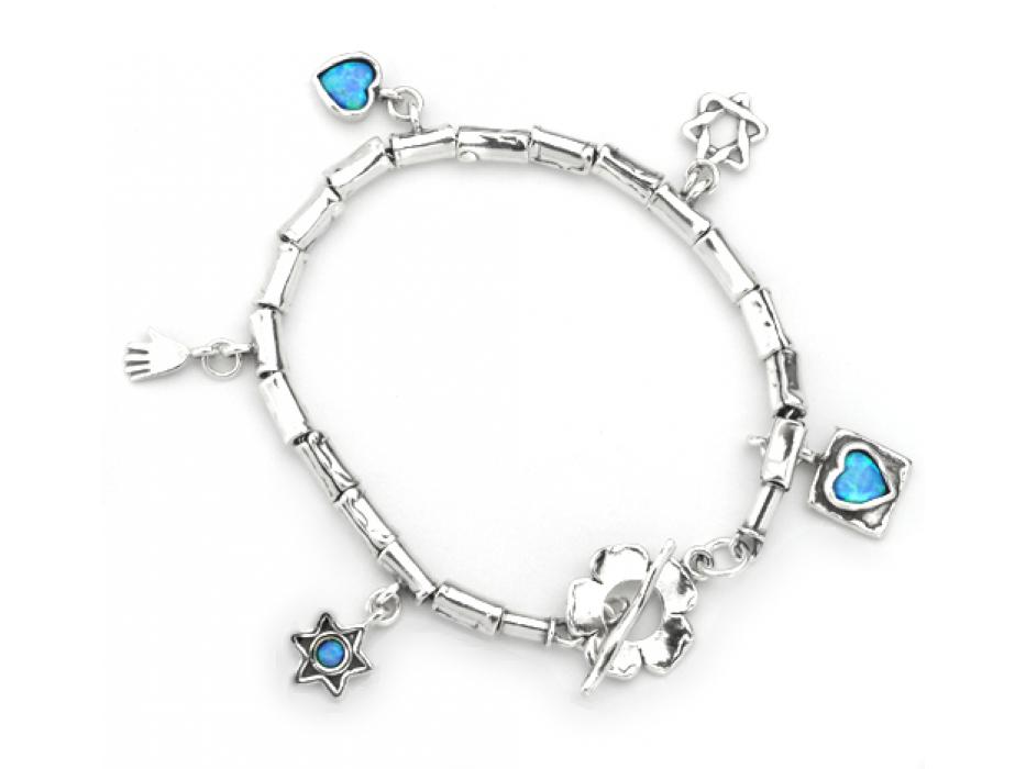 Silver Blue Opal Shablool Star of David Flower Hamsa Heart Charm Bracelet