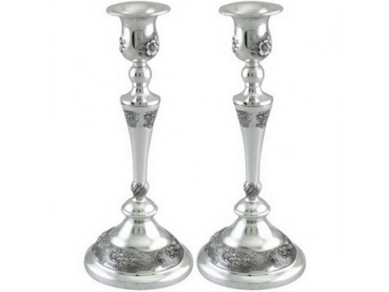Silver Candlesticks with Filigree Flowers