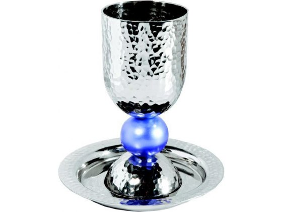 Silver Colored Anodized Alluminum Kiddush Cup with Big Blue Bead Stem