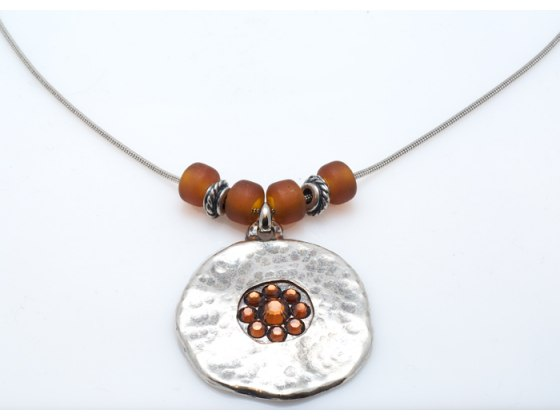 Silver Disc Pendant Necklace with Brown Crystals - Anava Jewelry