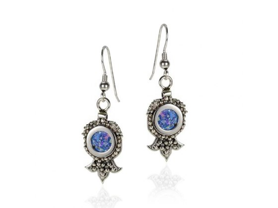 Silver Dotted Pomegranate Earrings With Roman Glass Center
