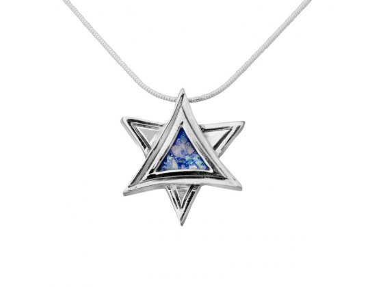 Silver Double Triangle Star of David Roman Glass Necklace