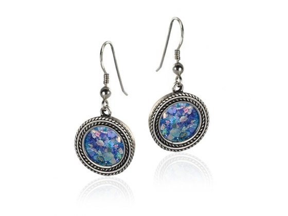 Silver Double Twisted Cord Round Roman Glass Earrings