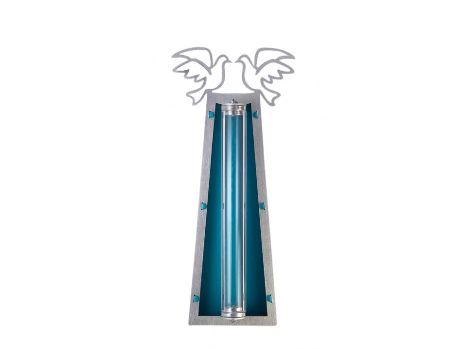 Silver Dove Shraga Landesman Mezuzah Case Blue Back and Broken Glass Holder