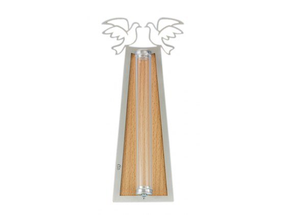 Silver Dove Shraga Landesman Mezuzah Case Wood Back and Broken Glass Holder