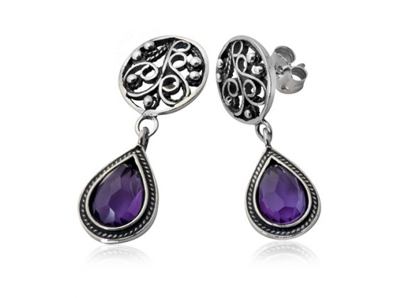 Silver and Gold Elaborate Earrings with Big Purple Stones