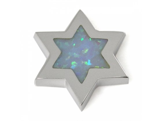 Silver Frame with Opal Star of David Necklace