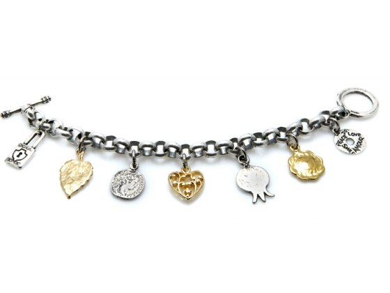 Silver & Gold Plated Charm Bracelet - Anava Jewelry