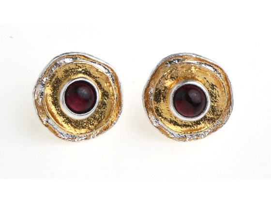 Silver Gold-Plated Disc Earrings with Stone Center by Idit Jewelry