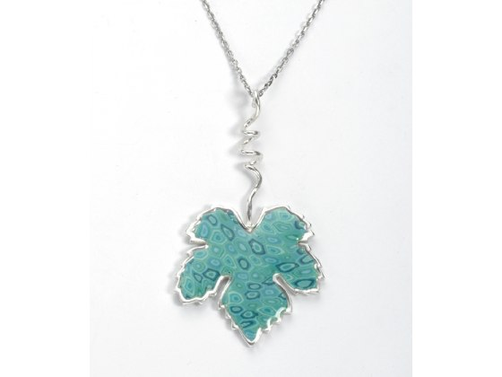 Grape Leaf Pendant Necklace by Adina Plastelina